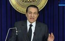 This screengrab shows Egypt's president Hosni Mubarak addressing the nation on 10 February 2011. Picture: AFP