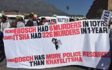 The Social Justice Coalition led Khayelitsha residents in a protest march. Picture: Xolani Koyana/EWN.