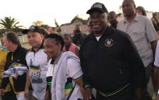 President Cyril Ramaphosa is joined by Western Cape ANC branch members during an early morning walk from Gugulethu Stadium to Athlone Stadium in Cape Town on 20 February 2018. Picture: Kaylynn Palm/EWN