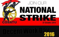 Cosatu invites all global trade union federations to join workers on 7 October, 2016 for decent work march. Picture: Twitter/@_cosatu.