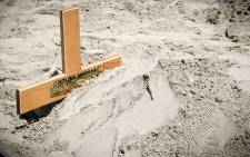 Convicted killer Xolile Mngeni's grave in the Khayelitsha Cementry. Picture: Thomas Holder
