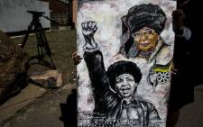 A painting by Nthabiseng Kekana in memory of Mama Winnie. Picture: Kayleen Morgan/EWN