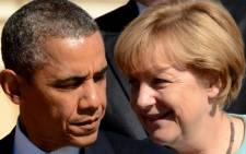 FILE: US President Barack Obama and Germany's Chancellor Angela Merkel. Picture: AFP.
