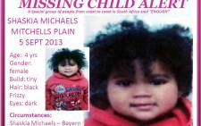 The four-year-old Mitchells Plain girl has been missing since Thursday last week.