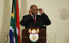 Jacob Zuma announces his resignation as the president of South Africa at the Union Buildings in Pretoria on 14 February 2018. Picture: AFP