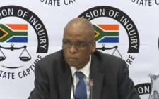 A screenshot of former Director-General of Mineral Resources Dr Thibedi Ramontja testifying at the state capture commission of inquiry on 14 March 2019. Picture: SABCNews/Youtube