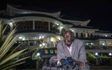 Leo Mugabe, the spokesperson for the Mugabe family, speaks to members of the press at the family's Blue Roof mansion in Harare to clarify the burial of Robert Mugabe. Picture: Thomas Holder/EWN