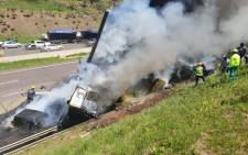 A truck driver has been killed and several others wounded in KwaZulu-Natal after the truck hit an overhead road sign that burst into flames on the N3. Picture: @rescuecare/Twitter