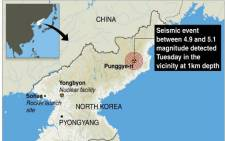 "A graphic from AFP shows Punggye-ri nuclear test site in North Korea where an ""artificial earthquake"" was detected on 12 February 2013. Picture: AFP/GAL/JS"