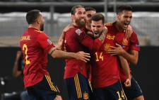 Spain players celebrate a late equaliser in ther UEFA Nations League match against Germany on 3 September 2020. Picture: @EURO2020/Twitter