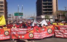 Hundreds of Satawu members demonstrated in the Johannesburg CBD on 2 October, 2012. Truck drivers embarked on a strike on 24 October, demanding a salary increase of 12 percent, a strike laced with violence. Picture: Govan Whittles/EWN.