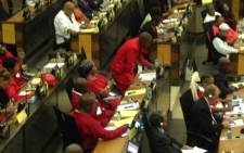 The Economic Freedom Fighters (EFF) disrupted Gauteng Premier David Makhura's State of the Province Address on 23 February 2015. Picture: Vumani Mkhize/EWN.
