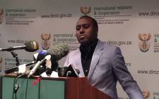 The Department of International Relations and Cooperation spokesperson Clayson Monyela addressing the media on political tensions in Lesotho on 30 August 2014. Picture: Reinart Toerien/EWN.