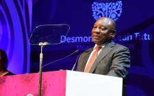 President Cyril Ramaphosa gives the keynote address at the 8th Annual Desmond and Leah Tutu International Peace Lecture held at the Artscape Theatre Complex in Cape Town on 8 October 2018. Picture: @PresidencyZA/Twitter