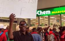 Dis-Chem workers demonstrated at the at The Point Mall in Sea Point, Cape Town, for better wages and working conditions. Picture:  Kevin Brandt/EWN