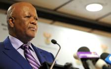Justice Minister Jeff Radebe at a briefing on the Gupta jet controversy. Picture: GCIS.