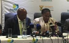 Transport Minister Dipuo Peters, right, addressing the media on road fatalities. Picture: Pelane Phakgadi/EWN.
