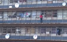 A man jumped and committed suicide from the fifth floor of the building in Johannesburg CBD on 5 December 2014. Picture: Deo Khoza/iWitness