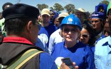 DA leader Helen Zille addresses the crowd during the party's march in Johannesburg, 12 February 2014. Picture: Reinart Toerien/EWN.