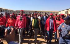 FILE: EFF leader Julius Malema at the Sethokga hostel, Tembisa. Picture: Twitter: @EFFSouthAfrica.