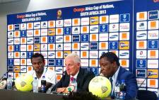 Bafana captain Bongani Khumalo and coach Gordon Igesund at a press conference after making it to the Afcon quarterfinals on 27 January 2013. Picture: Lelo Mzaca/EWN