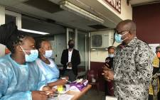 Gauteng Premier David Makhura at the Steve Biko Hospital on 11 January 2021. Picture: @David_Makhura/Twitter.