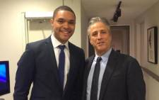 FILE: Trevor Noah tweeted this photograph of himself and Jon Stewart when he made his first appearance on 'The Daily Show' on 4 December 2014. Picture: Twitter @Trevornoah