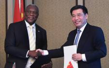 Telecommunications and Postal Services Minister Siyabonga Cwele hosting the People's Republic of China's Industry and Information Technology Minister Miao Wei in Cape Town. Picture: GCIS.