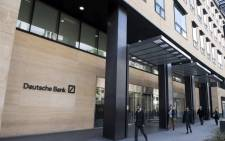 A view of the headquarters of German bank Deutsche Bank in London on 5 May 2017. Picture: AFP.