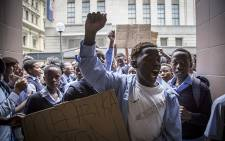 200 pupils from Masiphumelele High School marched to the Western Cape Department of Education to hand over demands for better schooling. Picture: Thomas Holder/EWN.