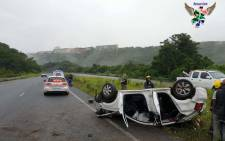 Two people have died, and four others were injured when a vehicle they were travelling in overturned several times on the M19 in Durban, KwaZulu-Natal. Picture: @rescuecare/Twitter.