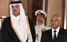 President Jacob Zuma welcomes the Emir of the State of Qatar, His Highness Sheikh Tamim Bin Hamad Al-Thani during a state visit to the Republic of South Africa on 11 April 2017. Picture: GCIS.