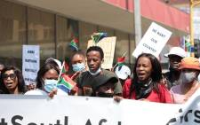 Small groups of civil society are marching from Church Square in Pretoria to the Nigerian Embassy on Wednesday, 23 September 2020. They are protesting against human trafficking and illegal foreign nationals. Picture: Abigail Javier/EWN
