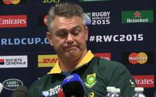Springbok coach Heyneke Meyer speaks to the media during the Bok team announcement ahead of their 3rd place playoff clash against Argentina. Picture: Vumani Mkhize/EWN