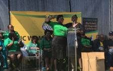 ANC Women's League President Bathabile Dlamini addressing the crowd at the league's gathering in Germiston. Picture: Twitter/@ANCWomensLeague