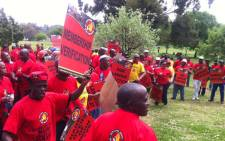 Members of NUM prepared to march to the Impala Platinum Mine head office in Rosebank, Johannesburg, on 13 October 2012. The union claims statistics that show it has lost support at the mine are misleading. Picture: Theo Nkonki/EWN