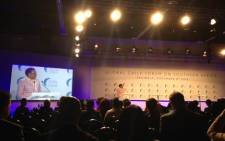 Former First Lady Graca Machel addresses delegates at the Global Child Forum in Pretoria. Picture: Masego Rahlaga/EWN.
