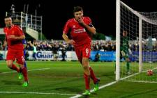 Liverpool captain, Steven Gerrard celebrates his goal during their FA Cup third round soccer match against AFC Wimbledon at Kingsmeadow Stadium in Kingston-upon-Thames on 5 January 2015. Picture: Liverpool FC Official Facebook page.