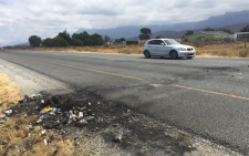 FILE: This the only evidence of the protest action on the parameter of Zwelethemba just outside Worcester. Xolani Koyana/EWN