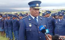 Lieutenant-General Jacob Tsumane speaking to the media during at final salute and funeral of Constable Kuhle Mateta. Picture: SAPS
