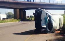 The accident scene on the R101 near Pyramid in Pretoria. Picture: Dineo Bendile/EWN.