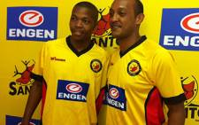 Santos players Gert Schalkwyk and Nasief Morris during a press conference on 24 January 2012. Picture: Rafiq Wagiet/EWN