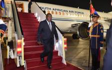 President Cyril Ramaphosa arrives in Egypt for an African Union. Picture: @PresidencyZA/Twitter