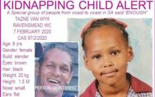 A flyer issued by the Pink Ladies shows the missing child, Tazne van Wyk, as well the suspected kidnapper Pangkaeker Moyhdian. Picture: Pink Ladies