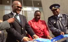 Police Minister Nathi Mthethwa and Commissioner Riah Phiyega at the opening of Polmed's new building in Pretoria. Picture: Barry Batemen/EWN.