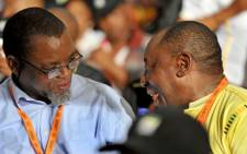 Gwede Mantashe and Cyril Ramaphosa talk during the announcement of the ANC's Top 6 nominations in Mangaung. Picture: ANC