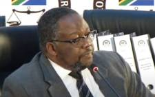 A screengrab of former Police Minister Nathi Nhleko appearing at the Zondo Commission on 28 July 2020. Picture: SABC/YouTube