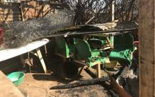 Three children were killed during a shack fire in Bekkersdal, Westonaria. The remains of the shack is pictured on 30 May 2018. Picture: Thando Kubheka/EWN.