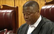 A screengrab of the Pretoria High Court hearing the DA's application to have former President Jacob Zuma personally pick up the bill for his various criminal and civil cases on 6 November 2018.