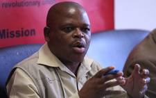 FILE: The National Union of Mineworkers' General Secretary Frans Baleni, at a news conference in Johannesburg. Picture: Taurai Maduna/EWN